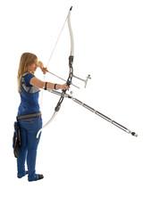 Girl shooting a bow an arrow
