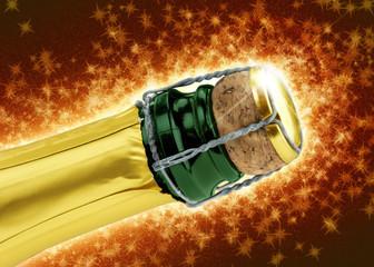 champagne cork on sparkling background