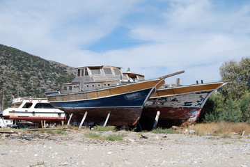 Old boats under repair and renovation