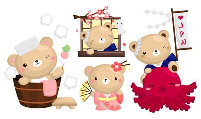 Japan Bear vector set