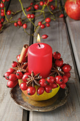 Apple candle holder - christmas home decor
