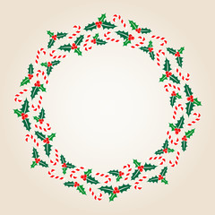 Christmas Wreath Holly Candy Canes Banner Beige