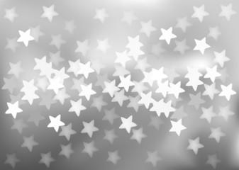 Silver festive lights in star shape, vector background.
