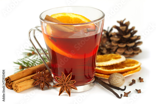 canvas print picture glass of mulled wine and spices