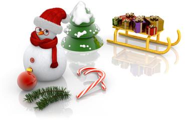 snowman, sled, and fir