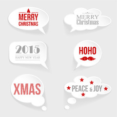 Speech thought bubble set with christmas,new year messages