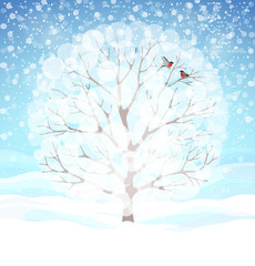 Winter background with snowy tree and bullfinches