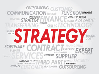 Strategy management concept in word tag cloud, vector background