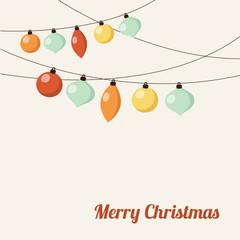 Christmas greeting card with garland, christmas balls, vector