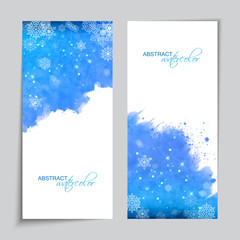 Abstract Vector Watercolor Blue Banners