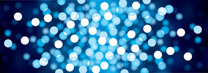 Blue festive lights, vector background.