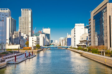 Odaiba district has a many water canalls, Tokyo, Japan.