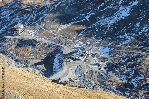 "canvas print picture Blick auf die Bergbahnstation  ""Furgg"", ob Zermatt"