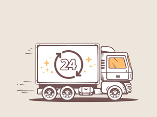 Vector illustration of truck free and fast delivering 24 h to cu