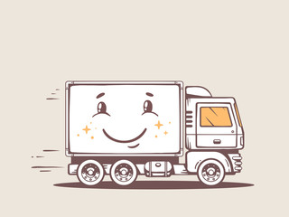 Vector illustration of truck free and fast delivering smile to c