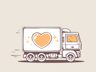 Vector illustration of truck free and fast delivering heart to c