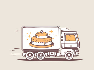 Vector illustration of truck free and fast delivering cake to cu