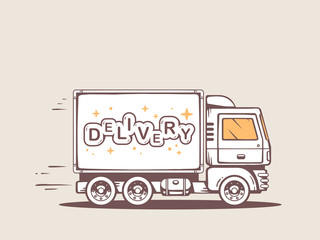 Vector illustration of truck free and fast delivering lettering