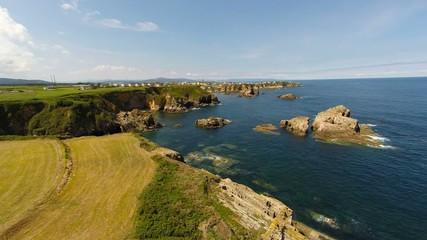 Aerial footage of coastline of Galicia