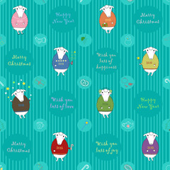 Vector seamless pattern. Christmas white sheeps wearing colored