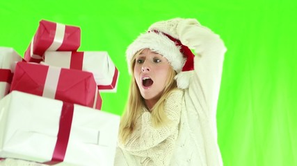 Busy christmas shopping-Woman falling with presents