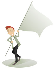 Cartoon cheerful man carries the waved banner