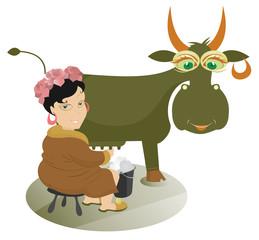 Cartoon girl farmer is milking a cow