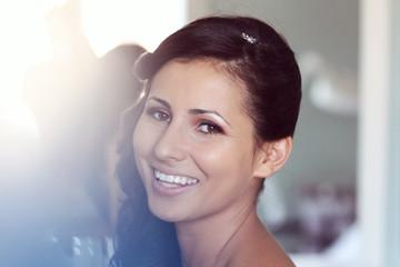 Beautiful bride to be applying make up happy smile wedding