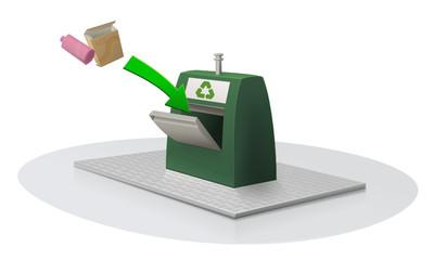 Dépose de déchets recyclable dans un conteneur