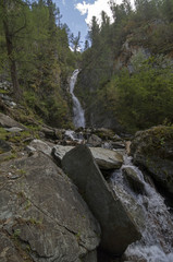 Small waterfall in the Altai Mountains.