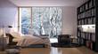 modern bedroom with bookshelf - schlafzimmer mit bücherregal