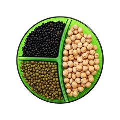 Chick-pea, mung bean and black lentils isolated on white backgro