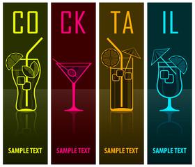 Four cocktail silhouettes on dark