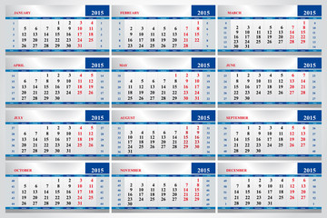 set of calendars for each month in 2015