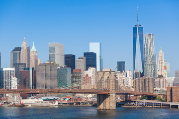 Brooklyn Bridge and Downtown Skyline in New York