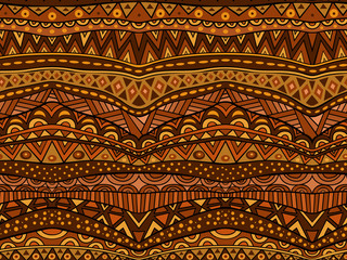 Warm Brown Ethnic Seamless Pattern