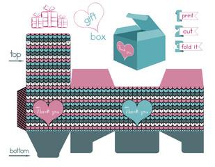 Printable Gift Box With Chevron Pattern
