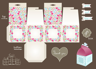 Printable Gift Box With Floral Pattern
