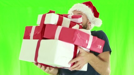 Man falling with Christmas presents