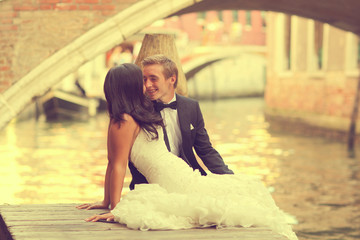 Beautiful wedding couple in Venice