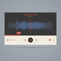 Audio player with equalizer in flat style with icons. Vector ill