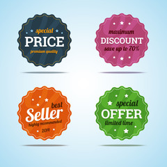Special set of premium sale badges in flat style. Vector illustr