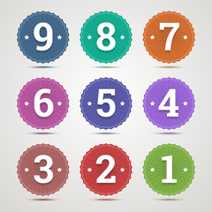 Set of round emblems with numbers from 1 to 9 in flat style and