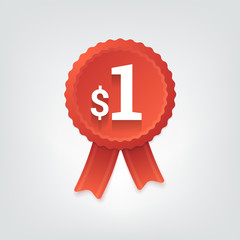 Red badge with one dollar price. Vector illustration.
