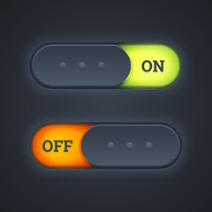On and off switch toggle buttons with green and red lights. Vect