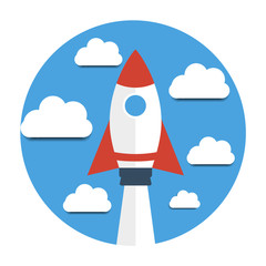 Rocket and clouds. Start up new business project.