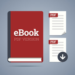 eBook template with pdf label and pdf page icons with download.