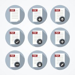 Pdf documents icons set in flat style with add, remove, download