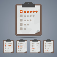 Clipboard with rating stars and checkboxes. Vector illustration