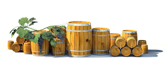 Different wine barrels on white background. 3d illustration